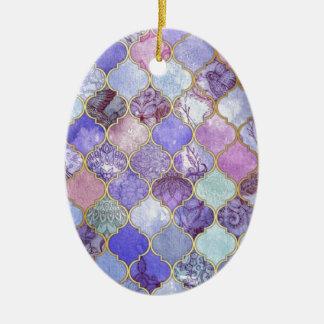 Ornamento De Cerâmica Roxo e claro - teste padrão marroquino azul do