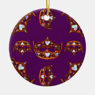 Ornamento De Cerâmica Roxo real do teste padrão da tiara da coroa do