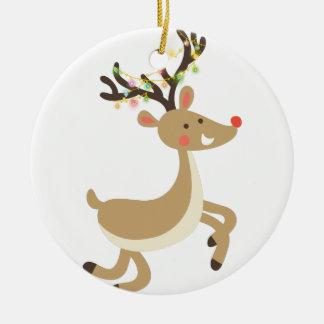 Ornamento De Cerâmica Rudolf com luzes de Natal, presente perfeito do