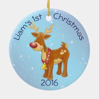 Ornamento De Cerâmica Rudolph bonito para Natal do bebê o ø