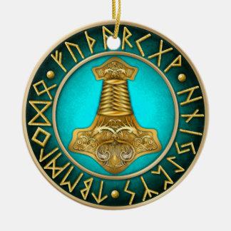 Ornamento De Cerâmica Runes - martelo dos Thors - cerceta
