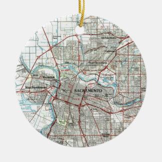 Ornamento De Cerâmica Sacramento Califórnia Mapa (1994)