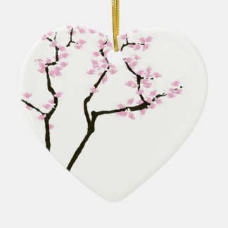 Ornamento De Cerâmica sakura afortunado e peixe dourado cor-de-rosa,