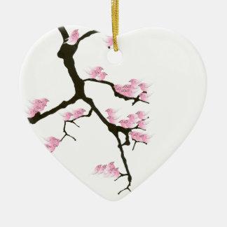 Ornamento De Cerâmica sakura com os pássaros cor-de-rosa por fernandes
