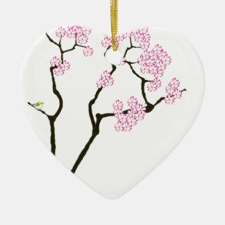 Ornamento De Cerâmica sakura com pássaro verde, fernandes tony