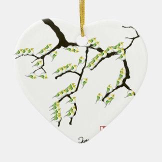 Ornamento De Cerâmica sakura com pássaros verdes, fernandes tony