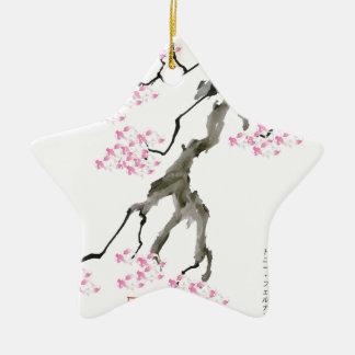 Ornamento De Cerâmica sakura com peixe dourado cor-de-rosa, fernandes