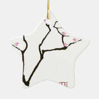 Ornamento De Cerâmica sakura e 7 pássaros cor-de-rosa 1, fernandes tony