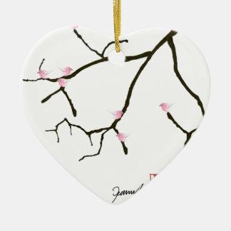 Ornamento De Cerâmica sakura e 7 pássaros cor-de-rosa 2, fernandes tony