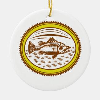 Ornamento De Cerâmica Sal-água-barramundi-lado-OVAL