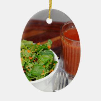 Ornamento De Cerâmica Salada de agrião do molho do tomate da cenoura do