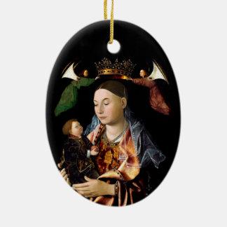 Ornamento De Cerâmica Salgando Madonna e a criança do cristo