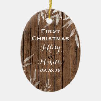 Ornamento De Cerâmica Salgueiro rústico personalizado Natal da madeira