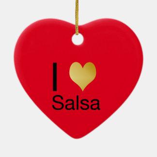 Ornamento De Cerâmica Salsa Playfully elegante do coração de I