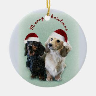 Ornamento De Cerâmica Salsichas do Feliz Natal