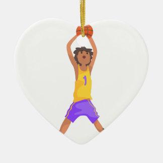 Ornamento De Cerâmica Salto do jogador de basquetebol e ação de jogo