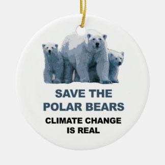 Ornamento De Cerâmica Salvar os ursos polares