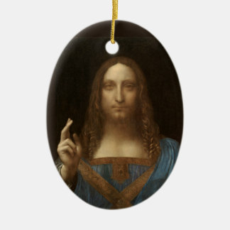 Ornamento De Cerâmica Salvator Mundi por Leonardo da Vinci cerca de 1500