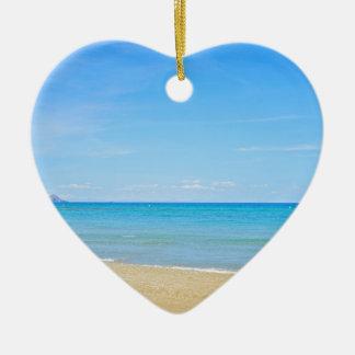 Ornamento De Cerâmica Sandy Beach e mar Mediterrâneo azul