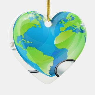 Ornamento De Cerâmica Saúde do globo do mundo da terra do coração do