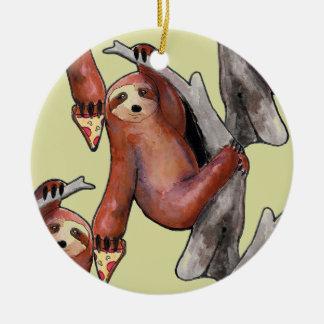 Ornamento De Cerâmica seapunk vaporwave grunge kawaii cute sloth pizza