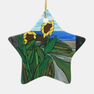 Ornamento De Cerâmica Seascape do girassol
