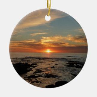 Ornamento De Cerâmica Seascape do por do sol II Califórnia de San Diego