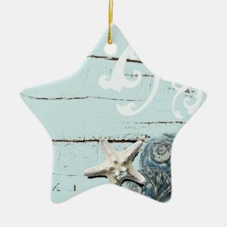 Ornamento De Cerâmica Seashells azuis da estrela do mar do aqua de