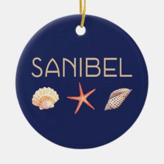 Ornamento De Cerâmica Seashells da ilha de Sanibel no azul
