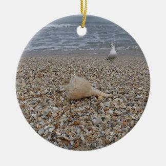 Ornamento De Cerâmica Seashells e gaivota de mar