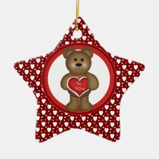 Ornamento De Cerâmica Seja meu, urso estando dos namorados, corações,
