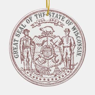 Ornamento De Cerâmica Selo desvanecido de Wisconsin