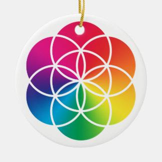 Ornamento De Cerâmica Semente do arco-íris de Chakras do símbolo da vida