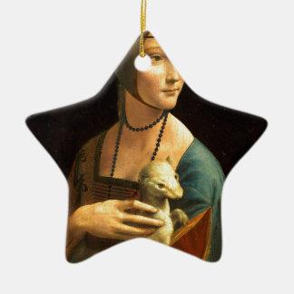 Ornamento De Cerâmica Senhora da pintura de Da Vinci original com um
