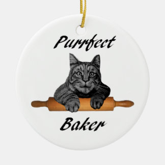 Ornamento De Cerâmica Senhora louca do gato dos presentes do gato do