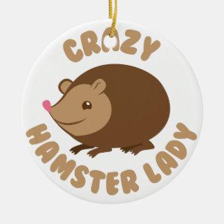 Ornamento De Cerâmica senhora louca do hamster