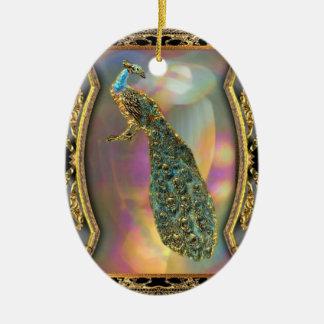 Ornamento De Cerâmica Senhora Pavão