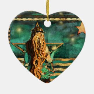 Ornamento De Cerâmica Sereia pelo mar com lua e estrelas