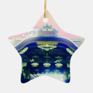 Ornamento De Cerâmica Série japonesa cor-de-rosa do castelo