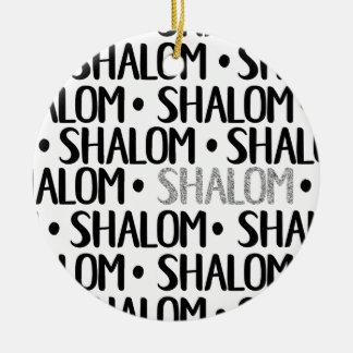 Ornamento De Cerâmica Shalom no preto & na prata