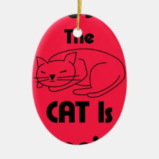 Ornamento De Cerâmica SHUSH! O gato está dormindo