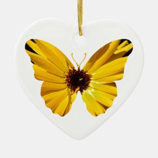 Ornamento De Cerâmica Silhueta amarela da borboleta da flor