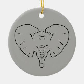 Ornamento De Cerâmica Silhueta da cara do elefante