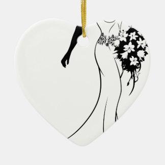 Ornamento De Cerâmica Silhueta da noiva com flores para casamentos