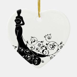 Ornamento De Cerâmica Silhueta da noiva do casamento