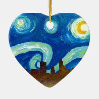 Ornamento De Cerâmica Silhueta da skyline de Austin com noite estrelado
