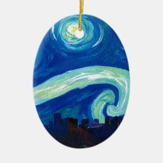Ornamento De Cerâmica Silhueta da skyline de Houston com noite estrelado