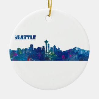 Ornamento De Cerâmica Silhueta da skyline de Seattle