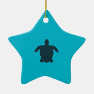 Ornamento De Cerâmica Silhueta da tartaruga de mar com sombra