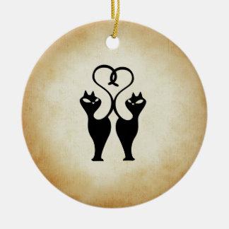 Ornamento De Cerâmica Silhueta de dois gatos